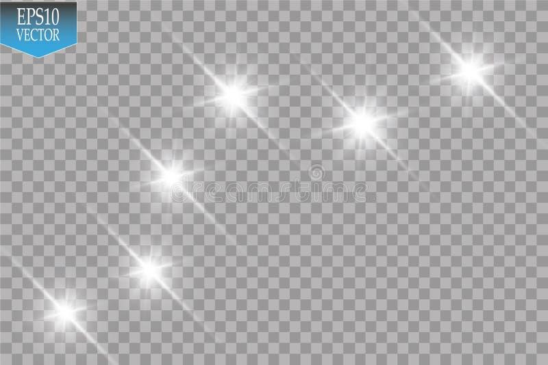 Ejemplo blanco de la onda del brillo del vector Partículas chispeantes de estrella del rastro blanco del polvo aisladas en fondo  ilustración del vector