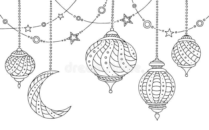 Ejemplo blanco del bosquejo de la luna de las lámparas del Ramadán del negro gráfico de la estrella ilustración del vector