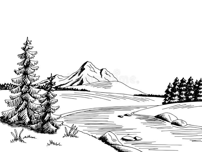 Ejemplo blanco del bosquejo del paisaje del negro del arte gráfico del río de la montaña ilustración del vector