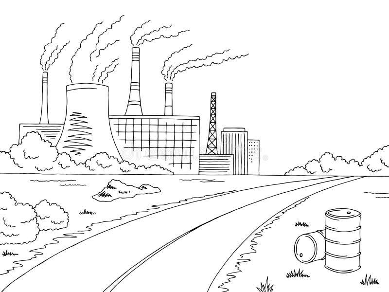 Ejemplo blanco del bosquejo del paisaje del mún negro gráfico de la ecología del camino de la industria ilustración del vector