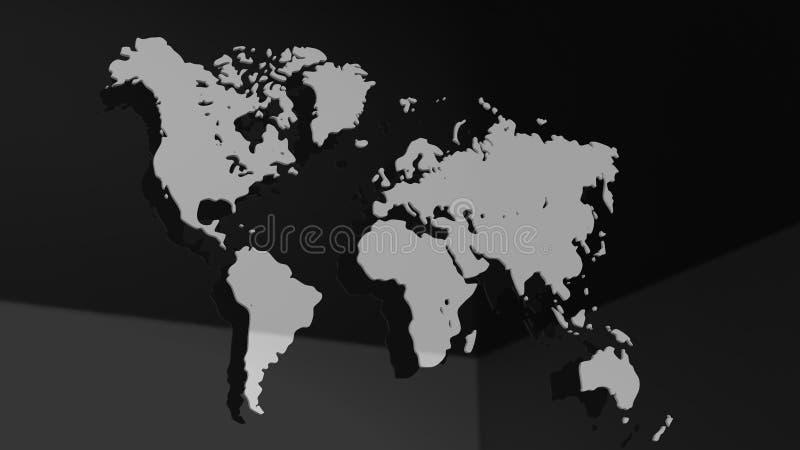 Ejemplo blanco del mapa del mundo 3D aislado en el fondo blanco ilustración del vector