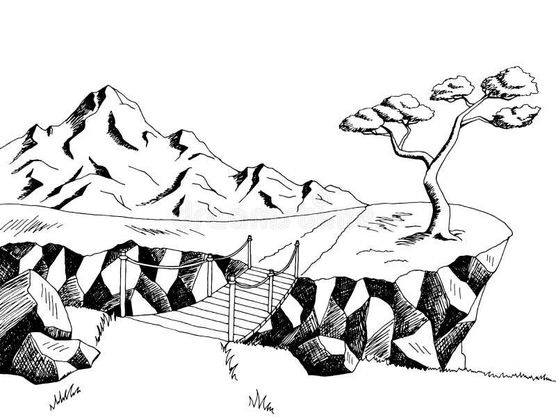 Ejemplo blanco del paisaje del negro del arte gráfico del puente del camino de la montaña ilustración del vector