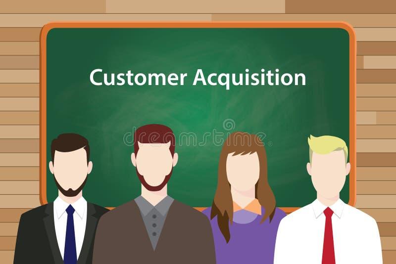 Ejemplo blanco del texto de la adquisición del cliente con cuatro personas que se colocan delante del tablero de tiza verde ilustración del vector
