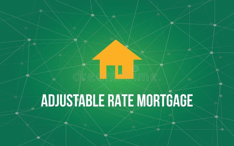 Ejemplo blanco del texto de la hipoteca de tasa ajustable con la silueta amarilla de la casa y constelación verde como fondo libre illustration