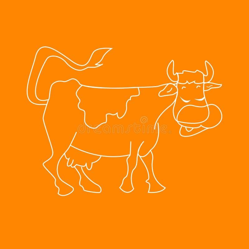 Ejemplo blanco del vector de la historieta del animal del campo divertido de la vaca para el libro de colorear imágenes de archivo libres de regalías