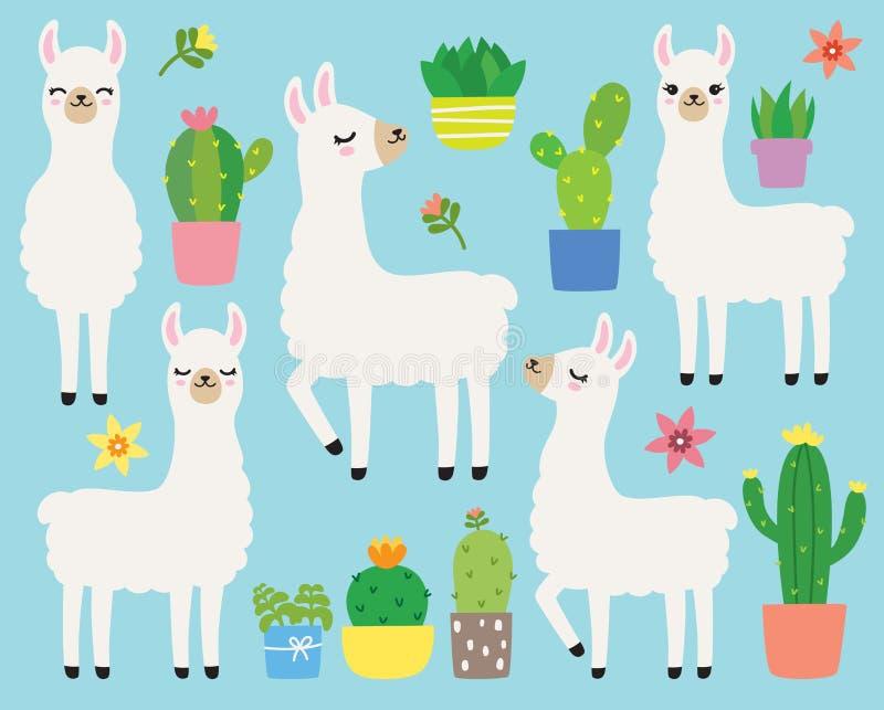 Ejemplo blanco del vector de las llamas y de los cactus stock de ilustración