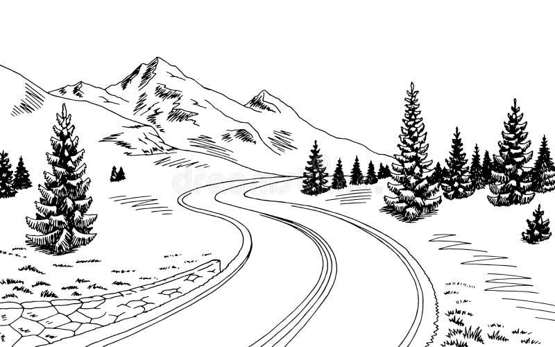 Ejemplo blanco negro gráfico del bosquejo del paisaje del camino de la montaña ilustración del vector