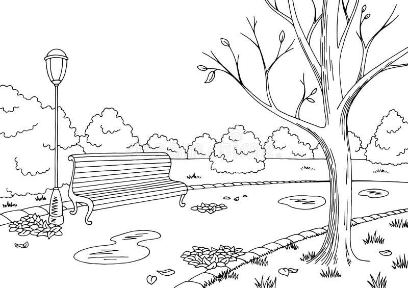 Ejemplo blanco negro gráfico del bosquejo del paisaje del parque del otoño libre illustration