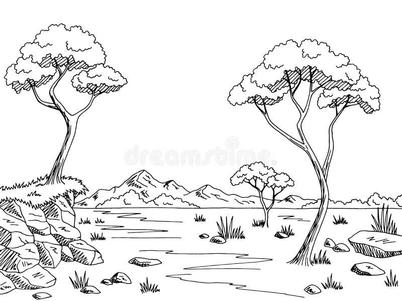 Ejemplo blanco negro gráfico del bosquejo del paisaje de la sabana stock de ilustración