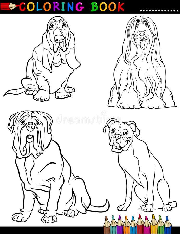 Perros criados en línea pura de la historieta que colorean la página ilustración del vector