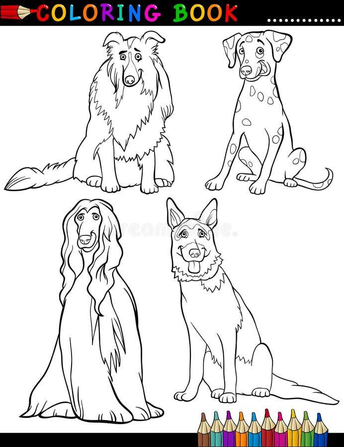 Perros criados en línea pura de la historieta que colorean la página libre illustration