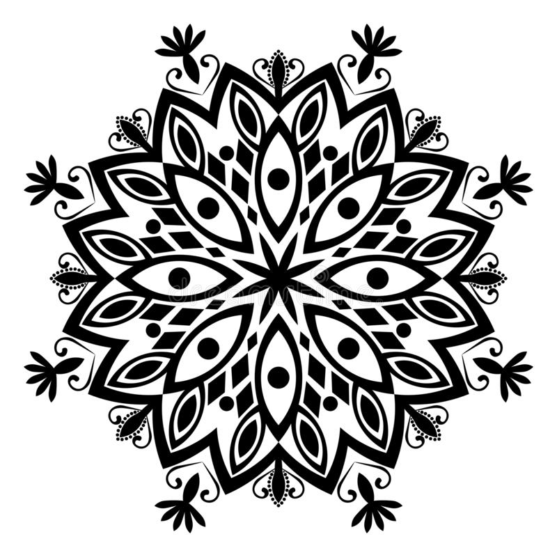 Ejemplo blanco y negro de la mandala ilustración del vector