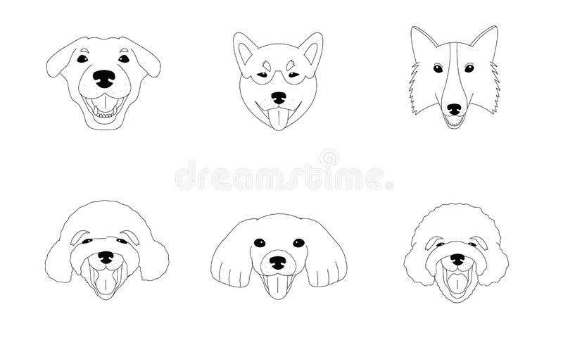 Ejemplo blanco y negro de los diversos perros stock de ilustración