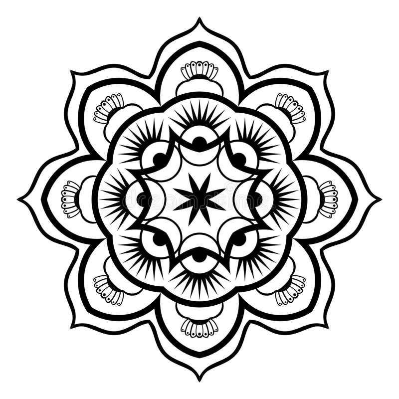 Ejemplo blanco y negro de Mandala Illustration Vector libre illustration