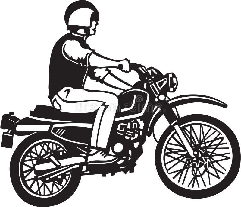 Ejemplo blanco y negro de Motorbiker stock de ilustración