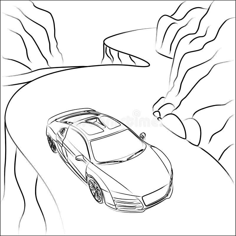 Coche deportivo en el camino de la montaña stock de ilustración