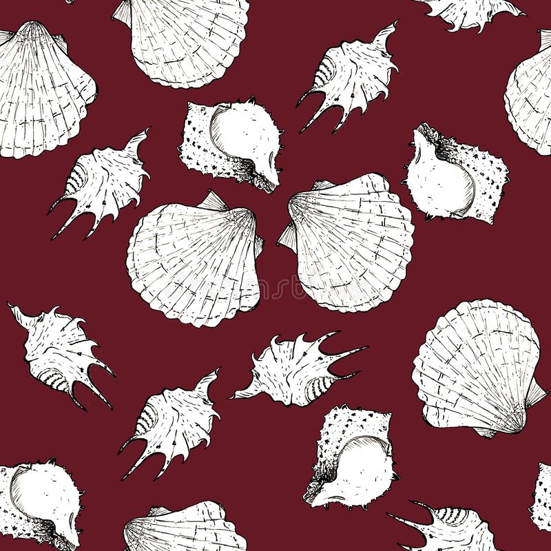 Ejemplo blanco y negro del bosquejo de conchas marinas en el fondo Biking de moda 2019-2020 de Panton del color rojo Modelo incon ilustración del vector