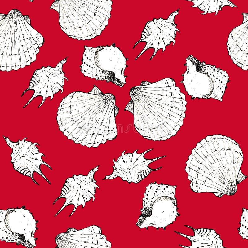 Ejemplo blanco y negro del bosquejo de conchas marinas en el fondo de moda 2019-2020 de Panton del color de Chili Pepper Modelo i libre illustration