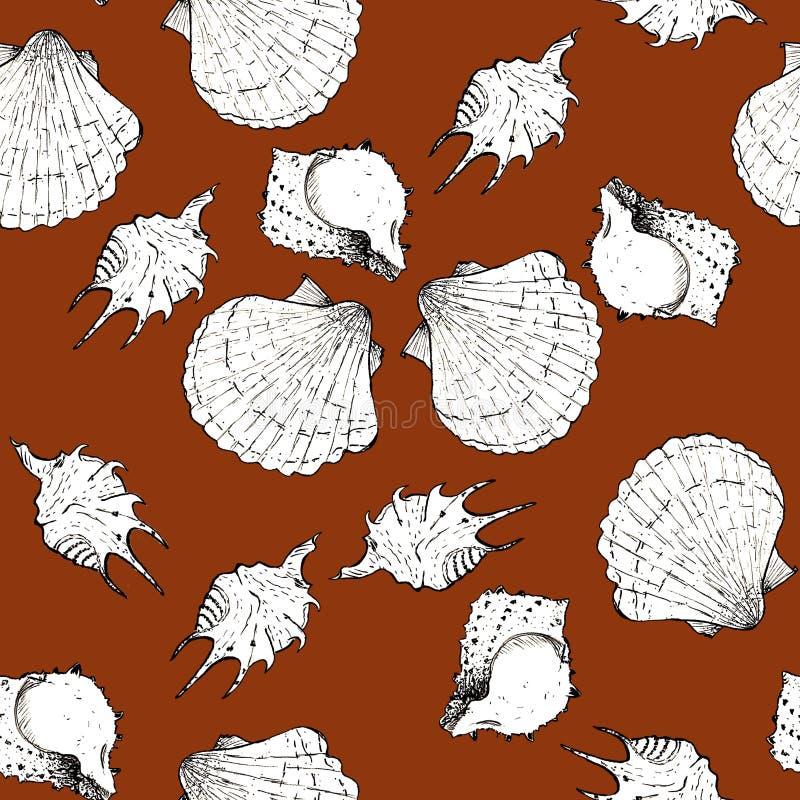 Ejemplo blanco y negro del bosquejo de conchas marinas en el fondo de moda 2019-2020 de Panton del color de Sugar Almond Modelo i libre illustration