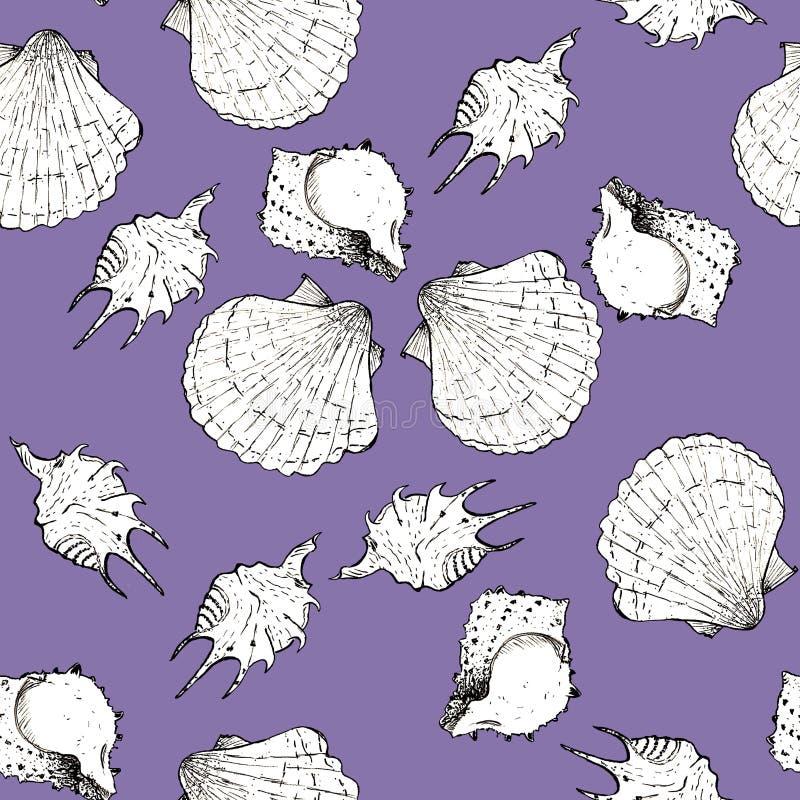 Ejemplo blanco y negro del bosquejo de conchas marinas en el fondo violeta del color Modelo incons?til stock de ilustración