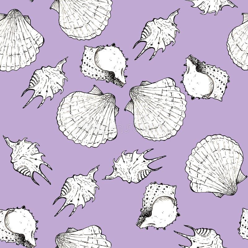 Ejemplo blanco y negro del bosquejo de conchas marinas en el fondo violeta místico de moda 2019 de Panton del color Modelo incons libre illustration