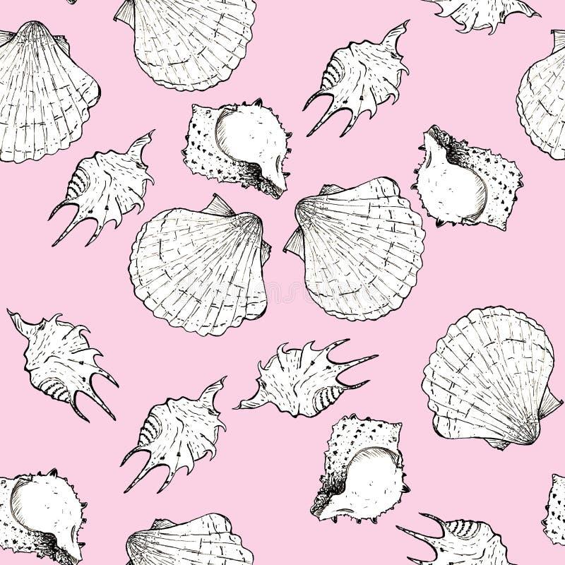 Ejemplo blanco y negro del bosquejo de conchas marinas en el pequeño fondo de moda 2019 de Panton del color del cochinillo Modelo ilustración del vector