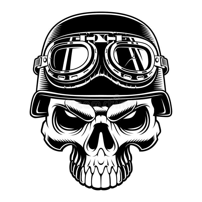 Ejemplo blanco y negro del cráneo del motorista stock de ilustración