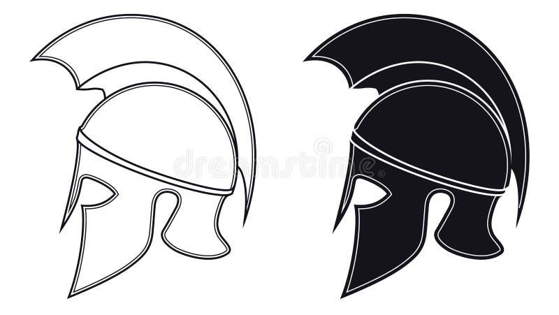 Ejemplo blanco y negro del vector de una silueta lateral en Anci stock de ilustración