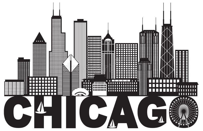 Ejemplo blanco y negro del vector del texto del horizonte de la ciudad de Chicago stock de ilustración