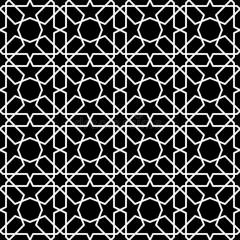 Ejemplo blanco y negro del vector del modelo islámico inconsútil stock de ilustración