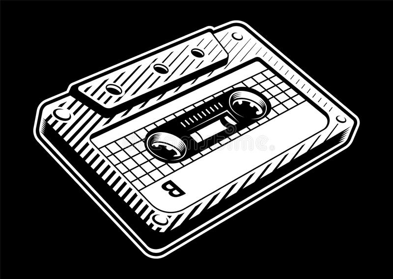 Ejemplo blanco y negro del vintage del casete audio ilustración del vector