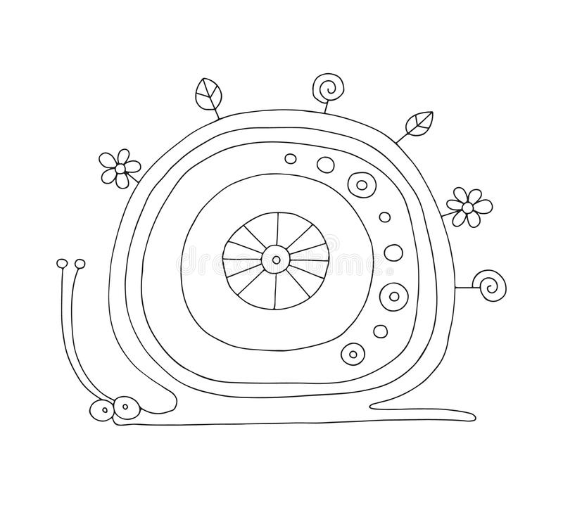 Ejemplo blanco y negro exhausto de la mano del vector del caracol aislado con los elementos decorativos, flores, hojas Garabato i libre illustration