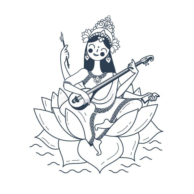 Ejemplo blanco y negro Vasant Panchami Saraswati feliz stock de ilustración