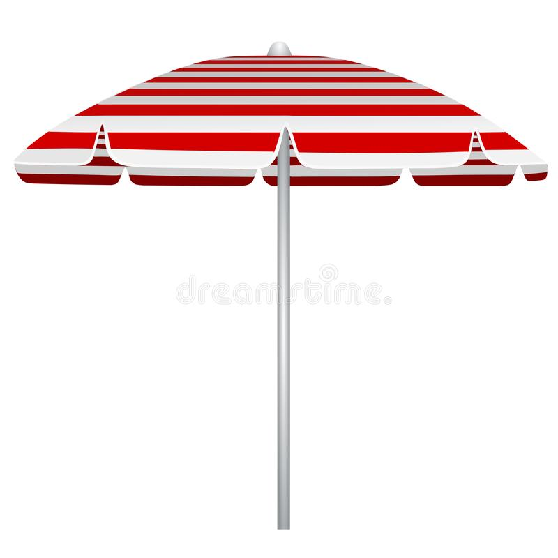 Ejemplo blanco y rojo del parasol de playa de las rayas ilustración del vector