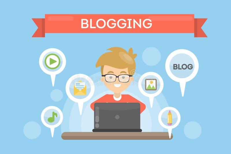 Ejemplo Blogging del concepto stock de ilustración