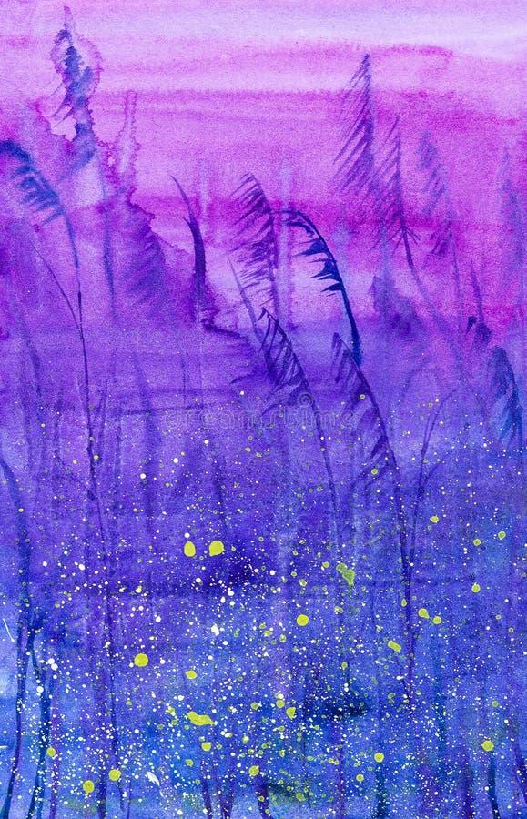 Ejemplo brillante abstracto de la acuarela de la noche de un campo ruso con descensos verdes libre illustration