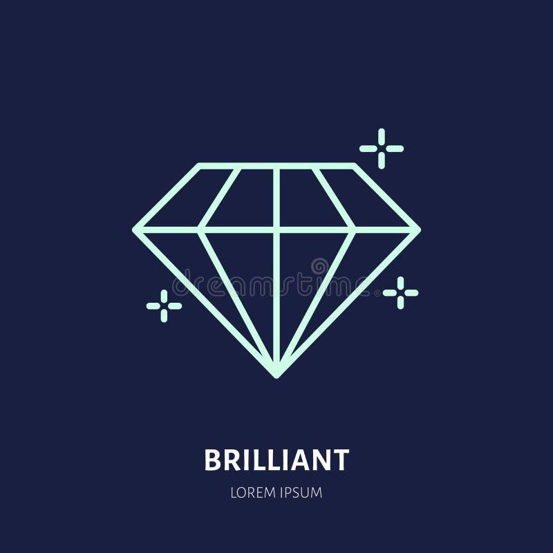 Ejemplo brillante brillante Línea plana icono, logotipo de la joyería del diamante de la tienda de la piedra de gema Jewels la mu stock de ilustración
