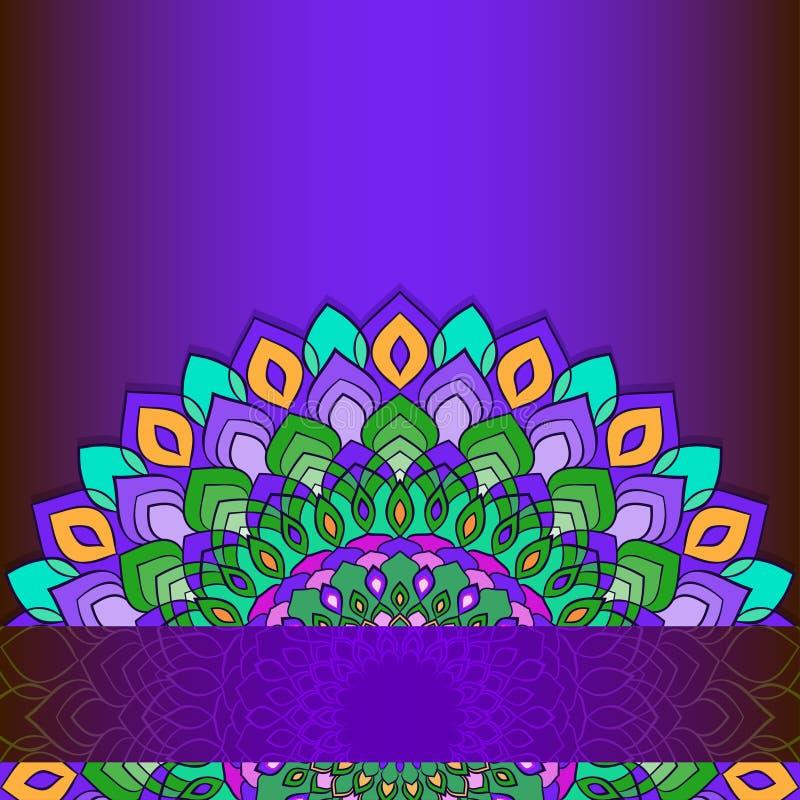 Ejemplo brillante con el cordón abstracto ornamental del mano-dibujo redondo con muchos detalles aislados en fondo púrpura oscuro ilustración del vector