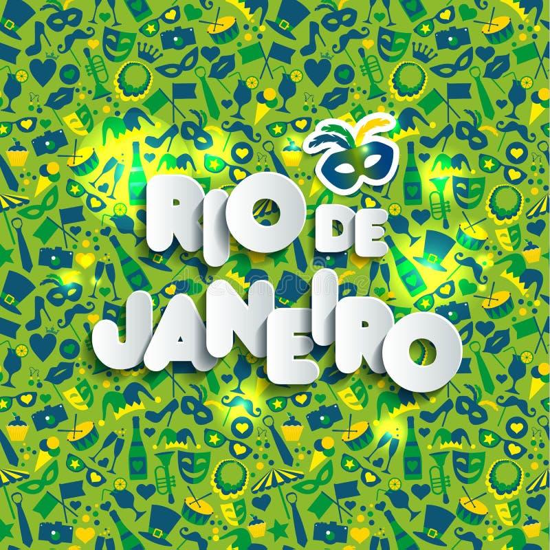 Ejemplo brillante del carnaval en modelo inconsútil Carnaval, primavera, texto del estilo de papel Rio de Janeiro ilustración del vector