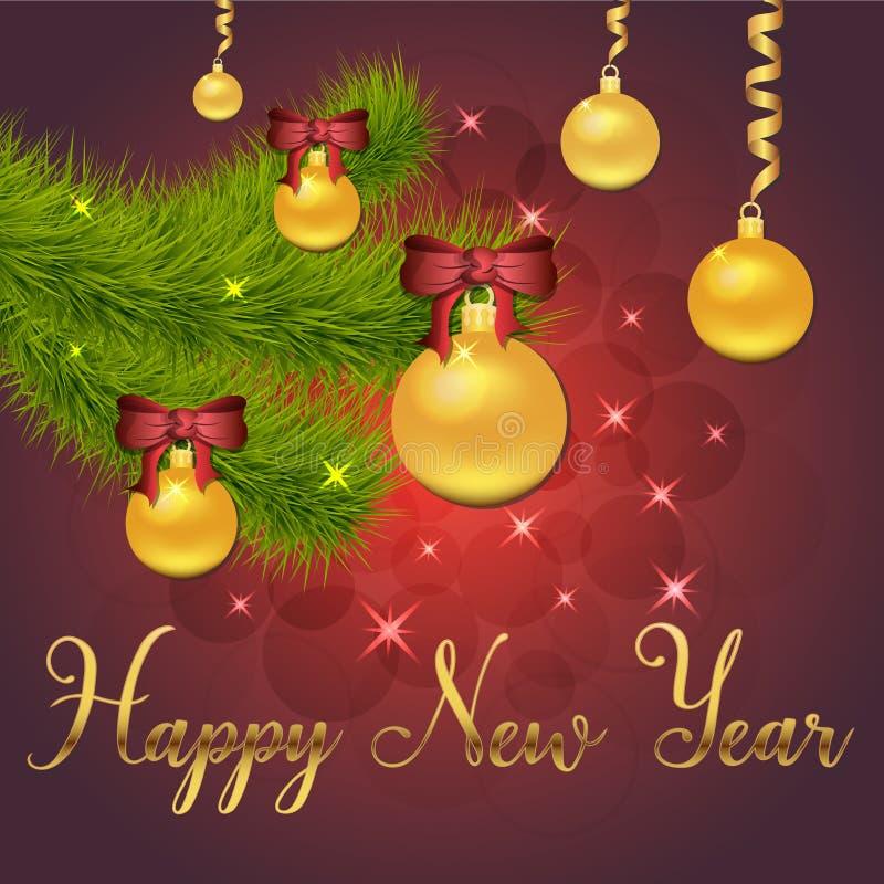Ejemplo brillante del vector de estrellas y de chispas en fondo rojo, con las decoraciones de la Navidad, bolas, rama de la picea ilustración del vector