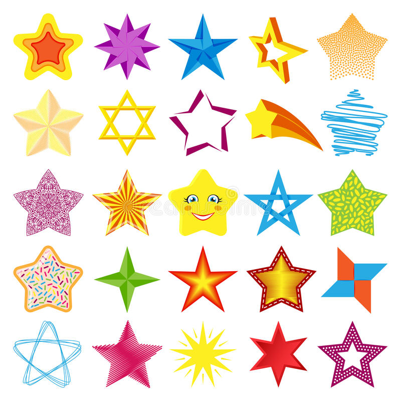 Ejemplo brillante del vector de la colección de los iconos de la estrella de diversa del estilo silueta de la forma ilustración del vector