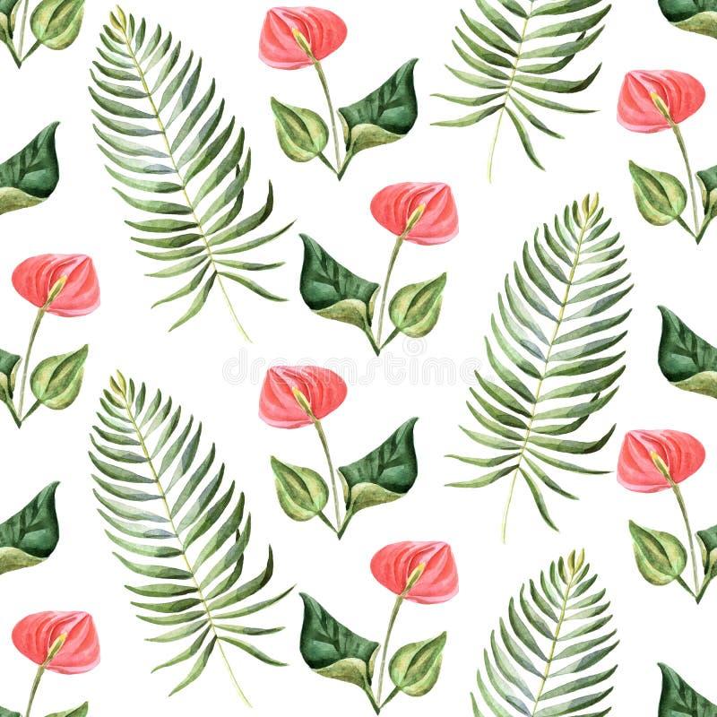 Ejemplo brillante del verano de la acuarela con las flores tropicales ilustración del vector