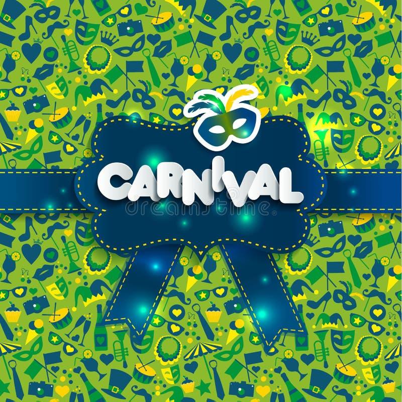 Ejemplo brillante en carnaval inconsútil de la textura y de la muestra Carnaval, texto de papel del estilo stock de ilustración