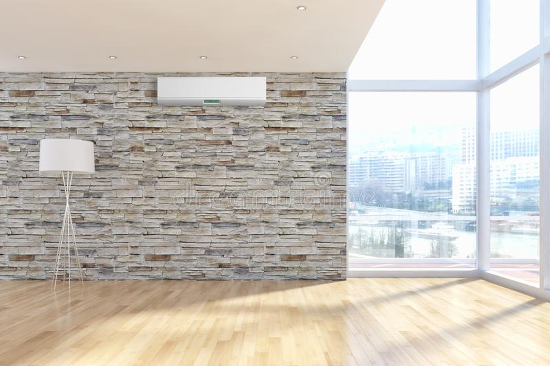 Ejemplo brillante moderno de la representación del apartamento 3D de los interiores imagen de archivo