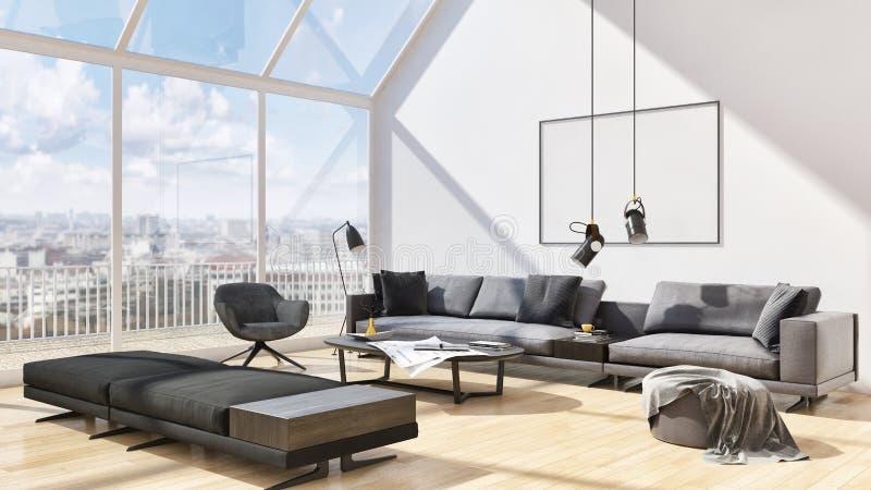 ejemplo brillante moderno de lujo grande 3D de la sala de estar de los interiores ilustración del vector