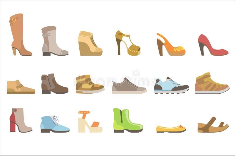 Ejemplo brillante simplificado plano fijado diversos zapatos del vector del color del estilo de la historieta en el fondo blanco stock de ilustración