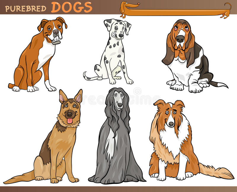 Sistema del ejemplo de la historieta de los perros del purasangre stock de ilustración
