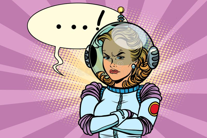 Ejemplo cómico del astronauta enojado de la mujer ilustración del vector