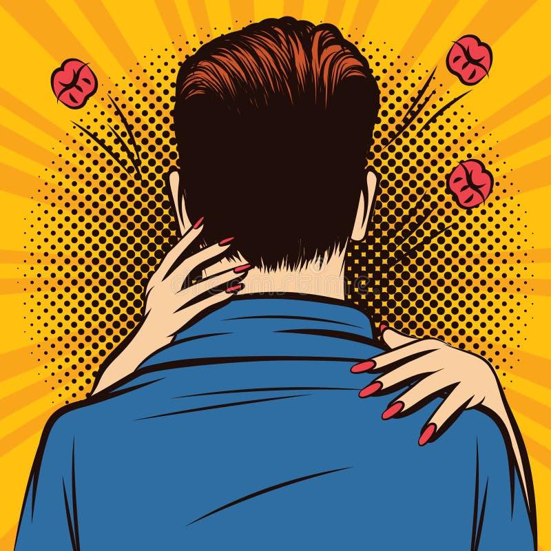 Ejemplo cómico del estilo del arte pop del color del vector de una mujer que abraza a un hombre ilustración del vector