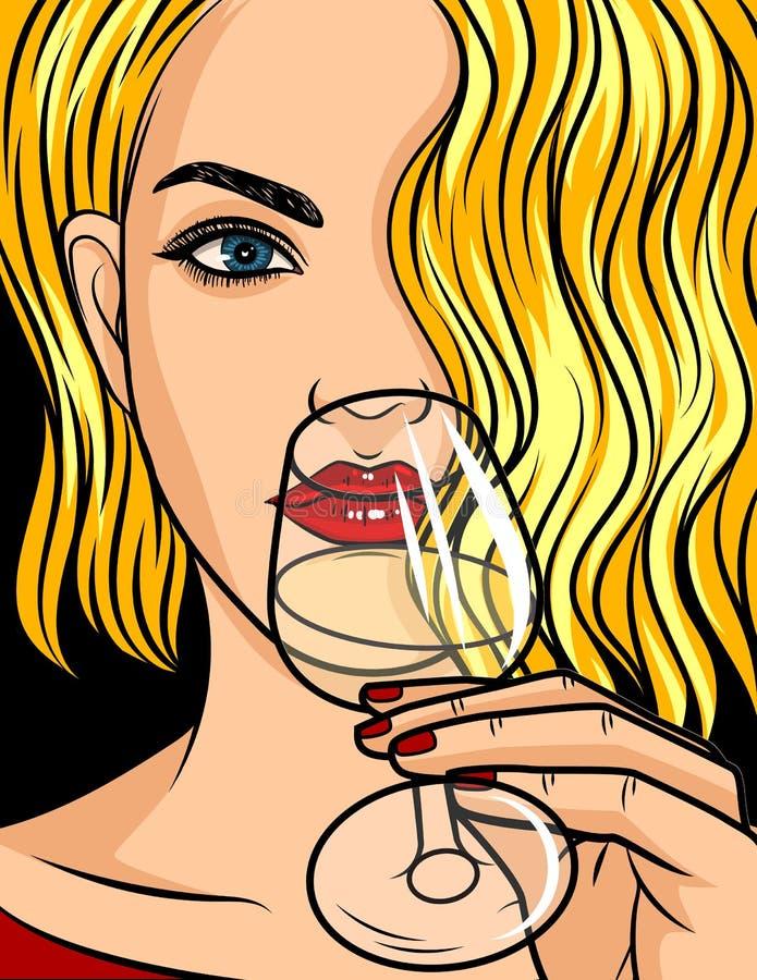 Ejemplo cómico del estilo del arte pop del vector del color Muchacha rubia con la barra de labios roja y el pelo ondulado La muje stock de ilustración